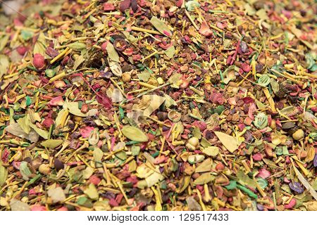 background of herb and spice mixture close up