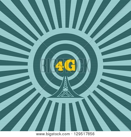Wi Fi Network Symbol . Mobile gadgets technology relative vector image. Sun rays background. 4G text
