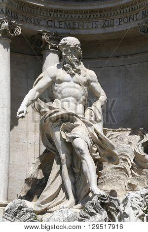 detail of fontana di trevi rome italy