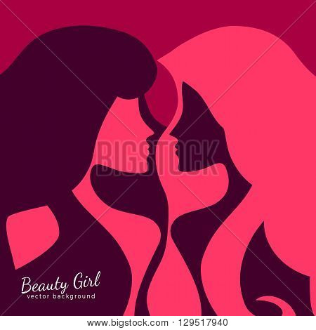Silhouette of two women facing each other