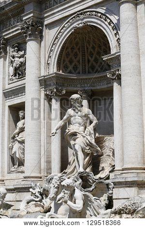 details of fontana di trevi rome italy