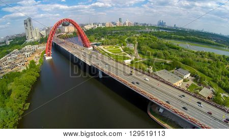 Zhivopisny suspension bridge aerial landscape in Moscow, Russia