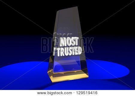 Most Trusted Trustworthy Reputation Award Words 3d Illustration