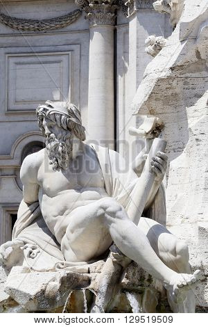 detail of sculpture in piazza navona rome italy