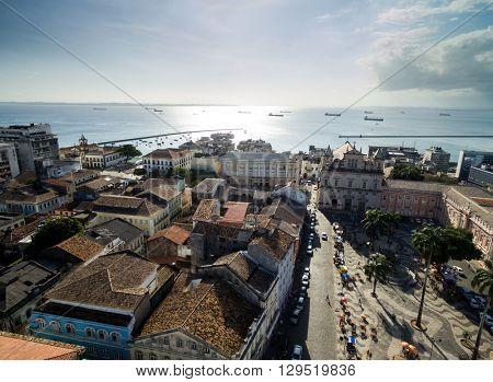 Aerial view of Se Square in Salvador, Bahia, Brazil