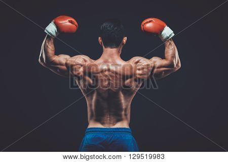 Muscular boxer in studio shooting, on black background fighter  kickbox boxer boxing fight