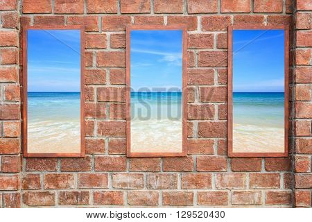 Abstract Square Red Brick Wall Texture With Windows Frame