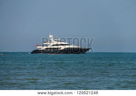Sailing boat in Ligurian Sea near Viareggio Italy