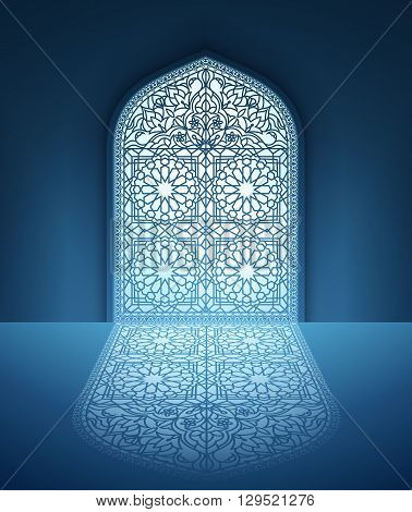 Illustration of doors of mosque geometric pattern background for ramadan kareem greeting cards EPS 10 contains transparency.