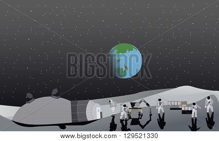 Moon space station vector illustration. Austronaunts landing to moon.