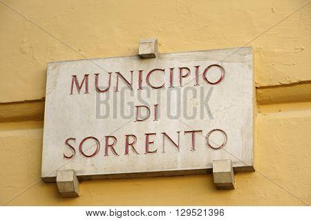 city of sorrento in mediterranean coast of italy
