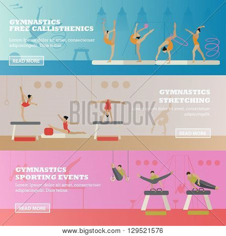 Gymnastic sport competition arena banner. Vector illustration. Sportsman flat icons. Artistic and rhythmic gymnast exercise.