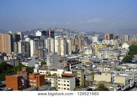 aerial view of downtown of caracas venezuela