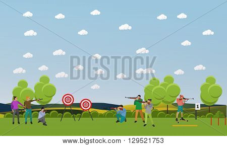 Vector set of sport shooting banner. Competition games. People in shooting positions.