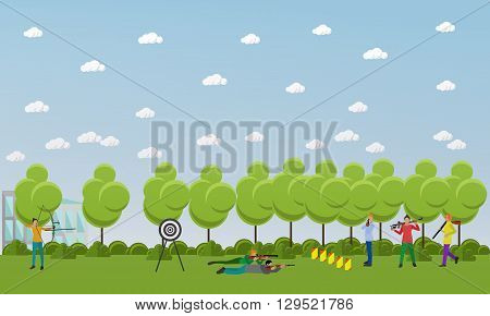 Sport shooting banner. Competition games vector illustration. People in shooting positions.