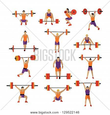 Weightlifting and workout exercise in gym. Vector set of gym icons in flat style isolated on white background. People in gym.