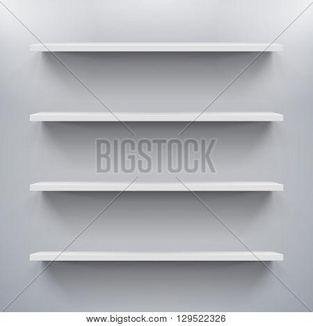 Gorizontal white bookshelves on a gray wall