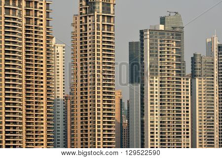 Pudong district skyscrapers in Shanghai China. Pudong is a district of Shanghai located east of the Huangpu River.
