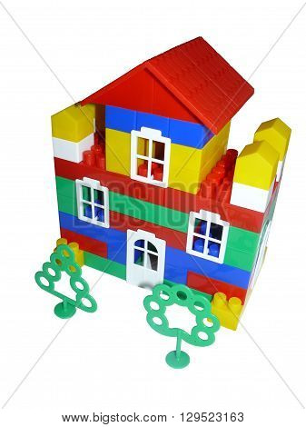 Toy house from the designer Prefabricated plastic house - toy for children.