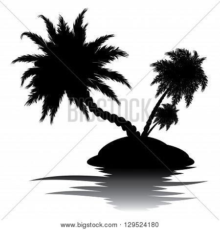 Palm Tree On Island Silhouette