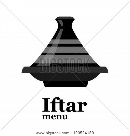 Moroccan tajine isolated on white background for cover of iftar menu. vector illustration