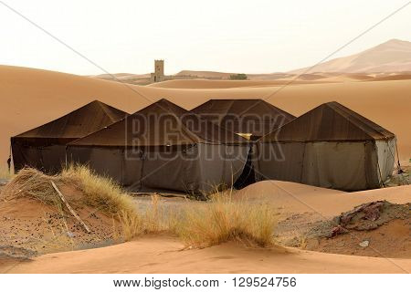 Berber tents in the Sahara sand dunes, Morocco