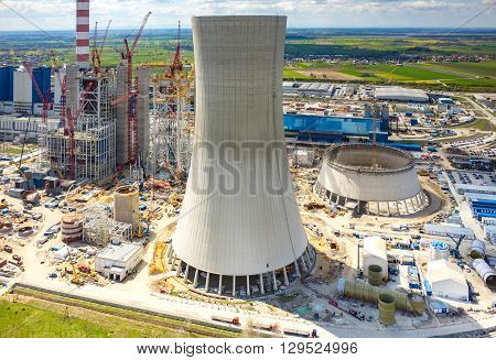 Aerial view on the construction site of the new modern power station