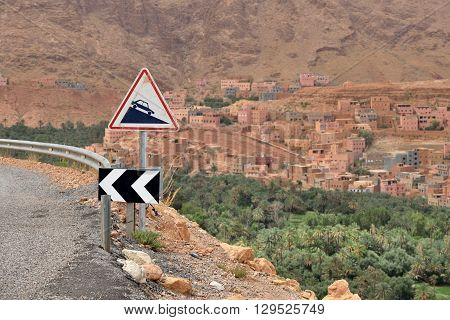 Dangerous road in a Atlas mountains Morocco North Africa