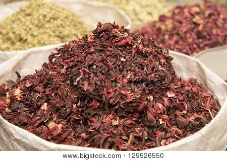 UAE Dubai Dry red hibiscus tea leaves and other spices for sale in the spice souq in Deira