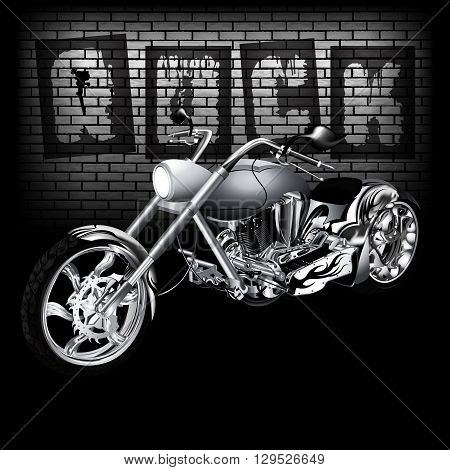 Vector illustration of motorbike on the background of a brick wall with the word rock. Image in black and white perfectly aligned with any image on a black background there is a place for text or image.