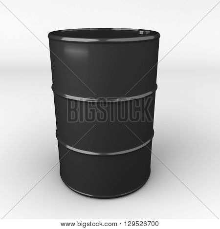 3D rendering of black oil drum or barrel