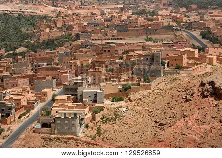 Traditional berber village in Atlas Mountain Morocco