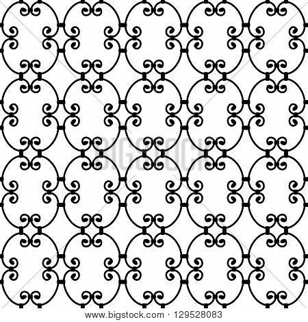 Forged seamless pattern. Elegant red curly forging on white background. Openwork metal fence design. Modern style for wallpaper wrapping fabric background apparel other print production. Vector