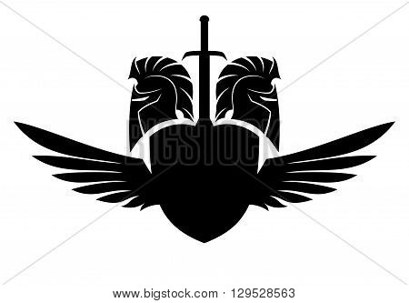 Vector sign Spartan helmet, shield, sword and wings.