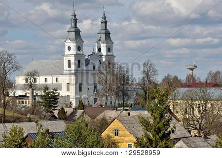 Church of Zemaiciu Kalvarija. Zemaiciu Kalvarija is a small town in Plunge district municipality Lithuania. It is known as a major site for Catholic pilgrimage.
