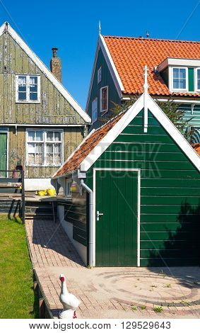 Holland Waterland district Marken view of the traditional house of the village
