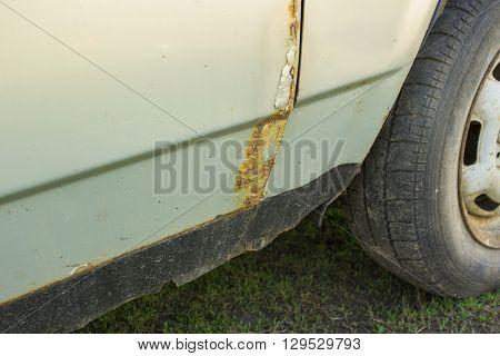 Rusty Car  Door, Wheel