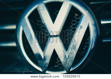 Russia - April 22, Volkswagen logo on April 22, 2016 in Russia.  Volkswagen is a German automobile manufacturer headquartered in Wolfsburg, Lower Saxony, Germany.