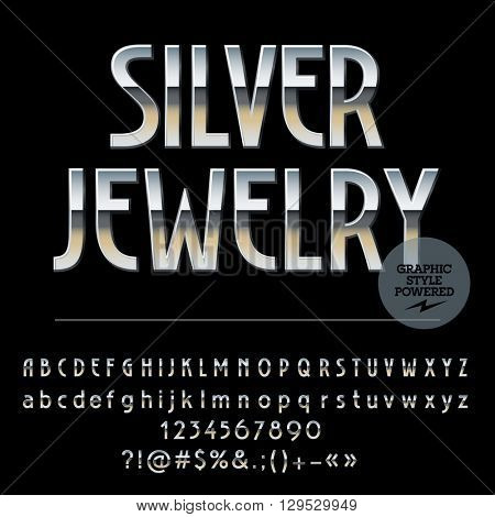 Vector set of royal silver alphabet letters, numbers and punctuation symbols. Art Deco thin style
