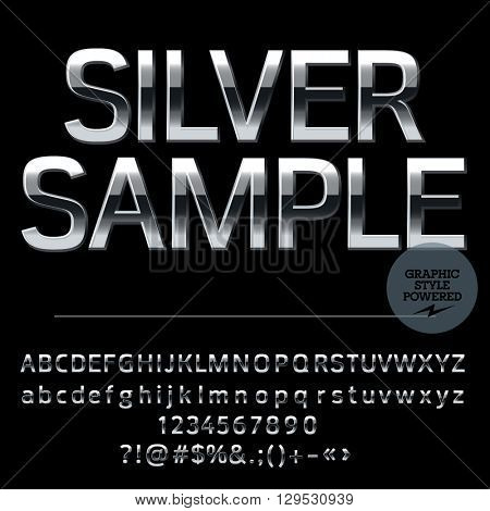 Vector set of elite silver alphabet letters, numbers and punctuation symbols. Compact bold style