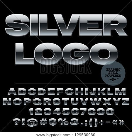 Vector set of strong silver alphabet letters, numbers and punctuation symbols. Extended bold style