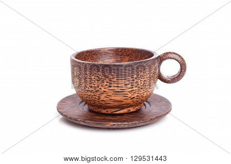 Close Up Brown Wooden Cup Isolated On White