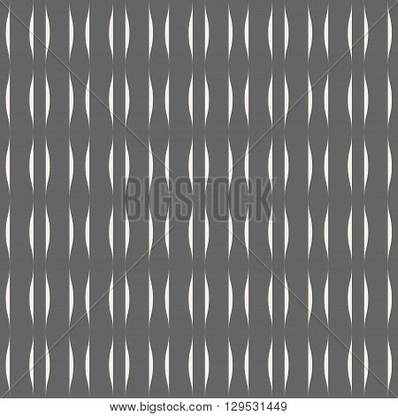 Wavy stripes seamless pattern. Abstract fashion volume texture. Geometric monochrome template. Graphic style for wallpaper wrapping fabric background and apparel prints website blog. Vector