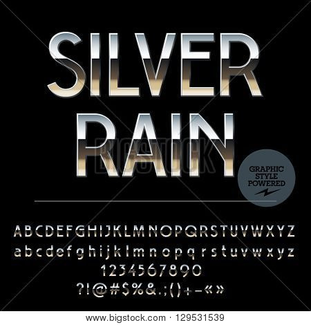 Vector set of shiny silver alphabet letters, numbers and punctuation symbols. Art Deco style