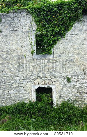 Detail of a large barracks in the fortress Shpanola (Montenegro, Herceg Novi)
