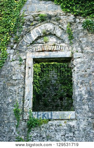 A window in one of the premises of the old fortress Shpanola (Montenegro, Herceg Novi)