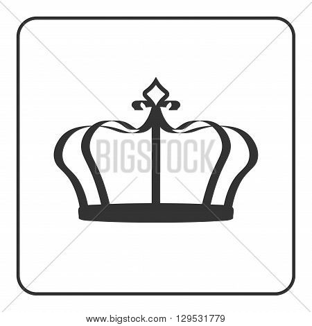 Crown icon - symbol of royal power and authority. Emperor sign. Design element for medals awards coat of arms or anniversary logo. Gray silhouette isolated on white background. Vector illustration