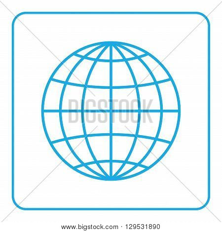 Earth globe icon. Global world sign. Symbol of network planet geography ecology geology etc. Blue map sign silhouette sphere isolated on white background. Design element. Flat Vector illustration