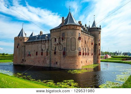 Muiden Holland - July 24 2014: Waterland district the Amsterdam castle