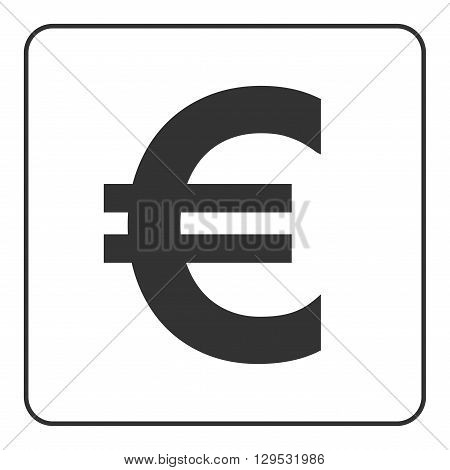 Euro sign. Symbol of currency finance business and banking. Money label. Gray flat icon isolated on white background. Flat design concept. Modern UI website navigation. Stock Vector illustration.